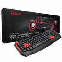 Combo Gaming Teros TE-CM3000, Teclado Multimedia, Mouse, Parlantes estereo, Mouse Pad